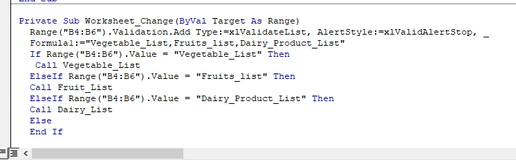 Now we need to write the main function for range B4: B6