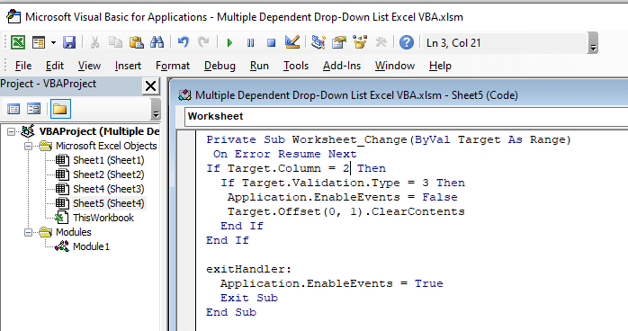 Open the VBA console by following the same steps from method 1 (Step 1 and Step 2) then write the following code