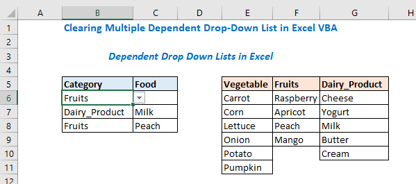 Clearing Multiple Dependent Drop-Down List in Excel VBA