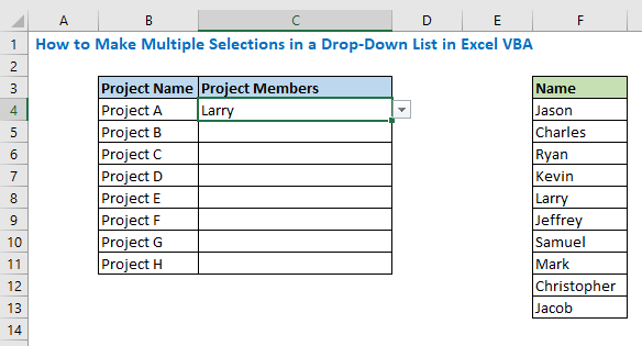 How to Make Multiple Selections in a Drop-Down List in Excel VBA