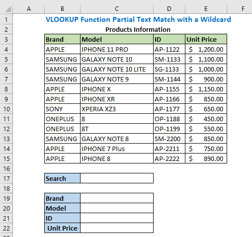 VLOOKUP Function Partial Text Match with a Wildcard