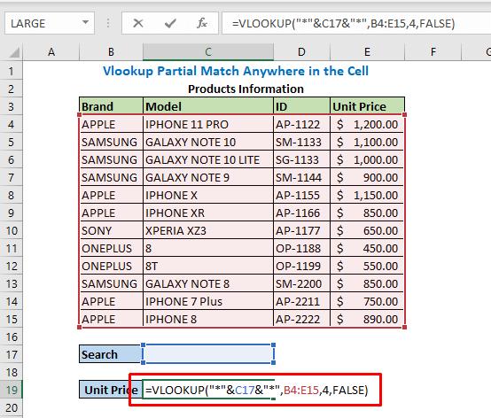 Enter formula using VLOOKUP formula