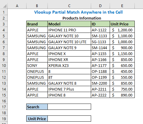 2. Vlookup Partial Match Anywhere in the Cell Here we will see how we can easily find any product from anywhere in the given dataset using the help of a partial match. Again, here we will use the same dataset above and the formula is closely similar to part 3 of method 1. Our task is to find the unit price using search keywords.