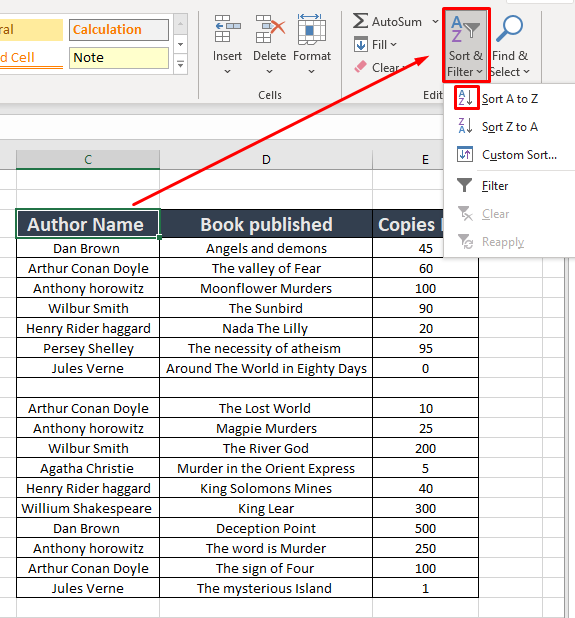 sorting data with blank cell