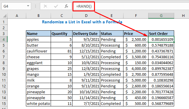 rand function