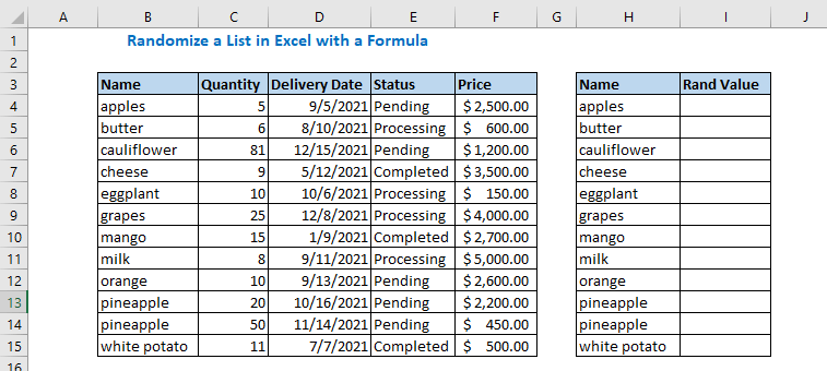 Randomize a List in Excel with a Formula