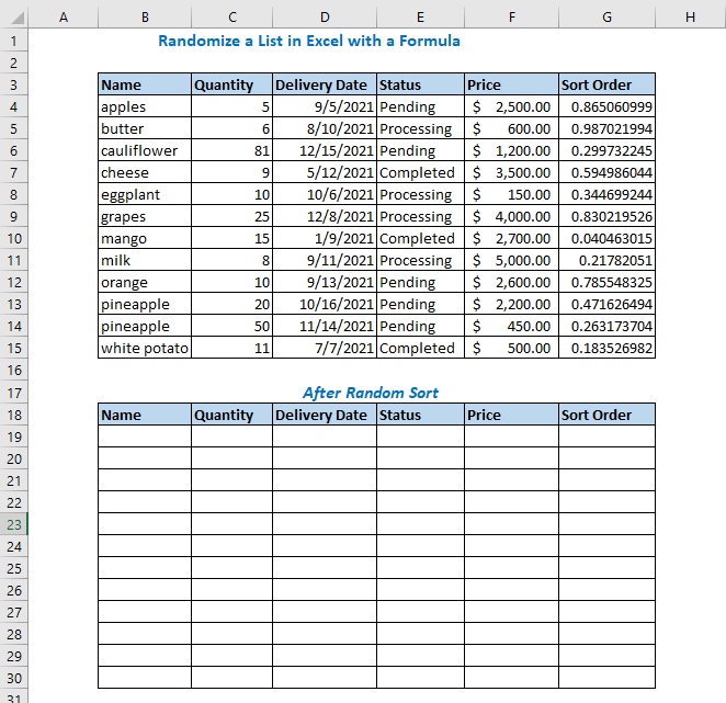 Randomize a List Using RAND and SORT Functions