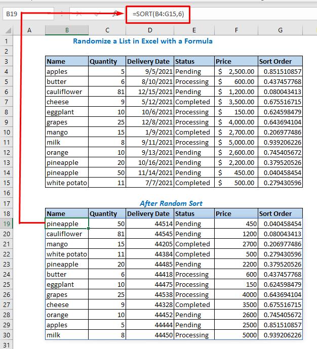 formula using SORT function