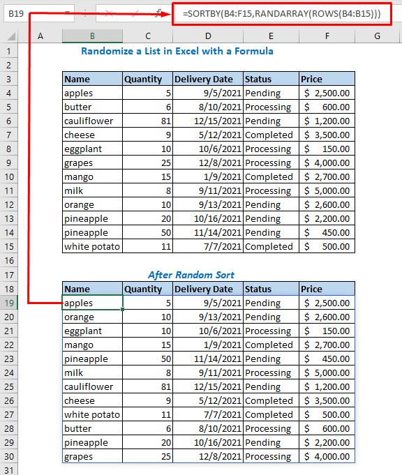 Randomize Using SORTBY, RANDARRAY, and ROWS Functions