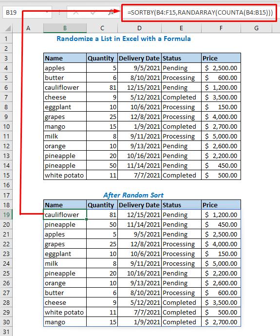 Randomize Using SORTBY, RANDARRAY, and COUNTA Functions