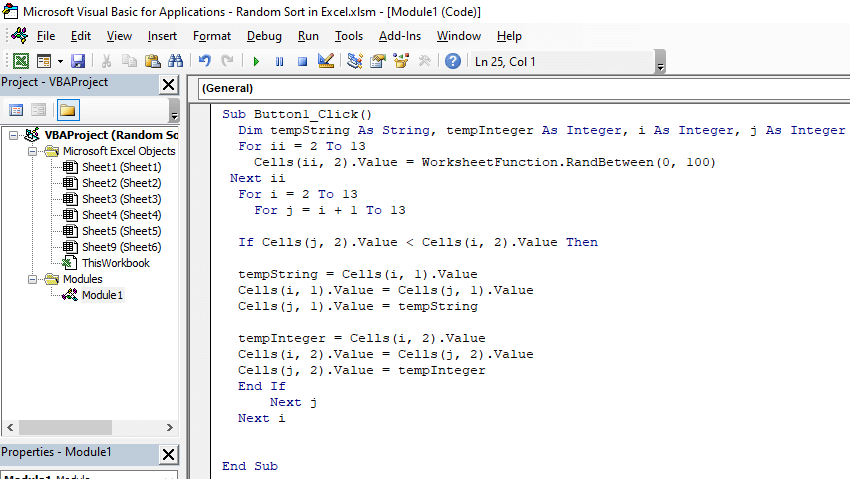Now write the code in the VBA window