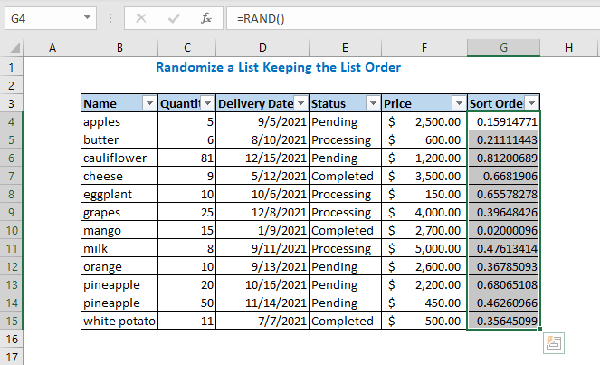 First select the all-sort order column values