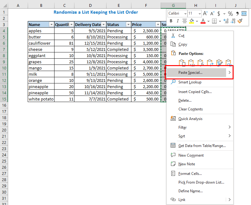 Right-click on the copied data select the Paste Special option