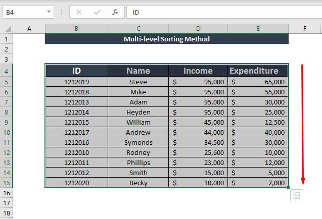 multi-level sorting