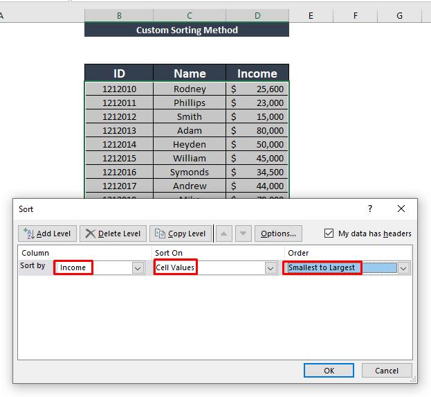 Using custom sorting
