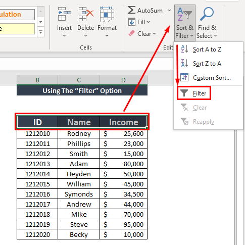 using filter option sort by value