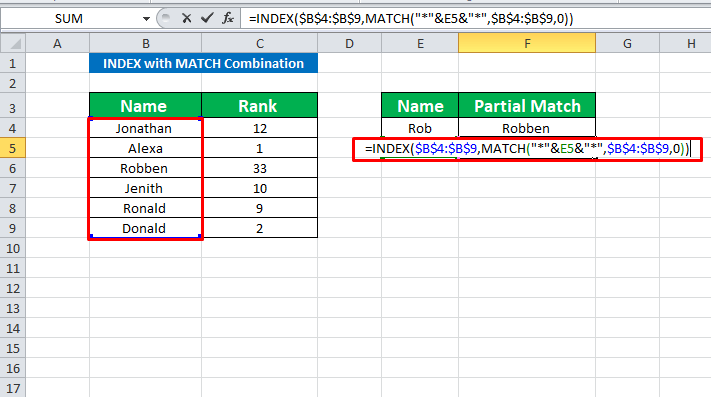 Using INDEX with MATCH to perform partial match string