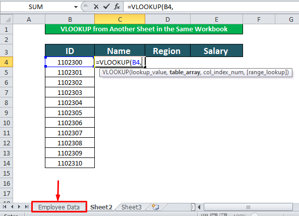 using vlookup fucntion