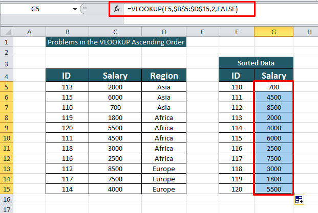VLOOKUP Ascending Order Without the Exact Match