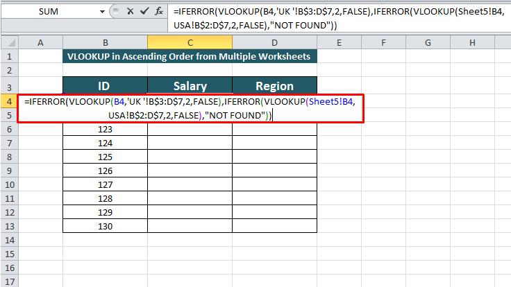 applying the vlookup formula