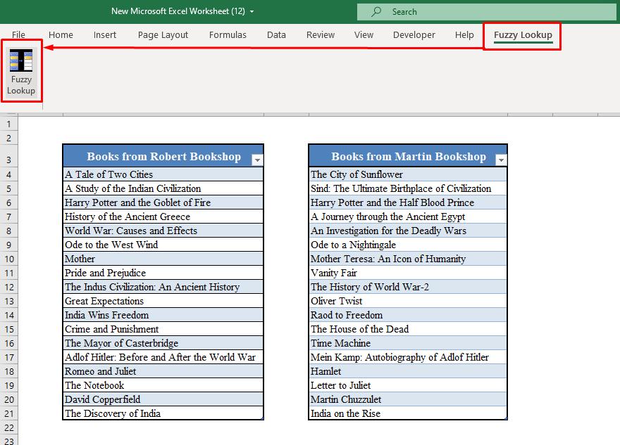 Fuzzy Lookup Option in Excel Toolbar