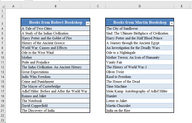Two Tables for Fuzzy Lookup in Excel