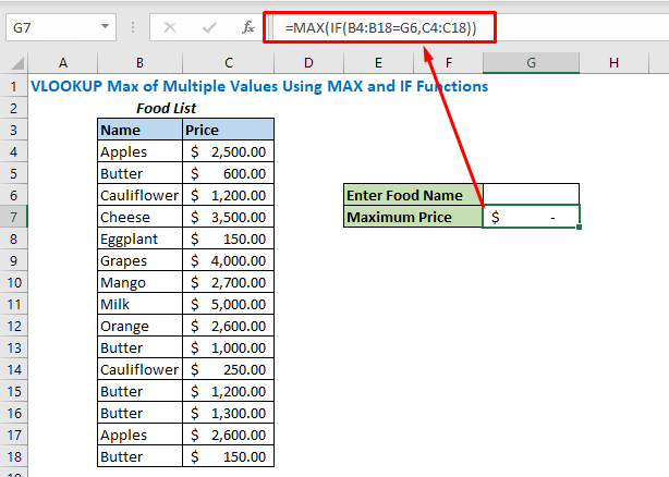 Formula with IF and MAX function