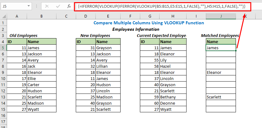 Formula using VLOOKUP and IFERROR functions