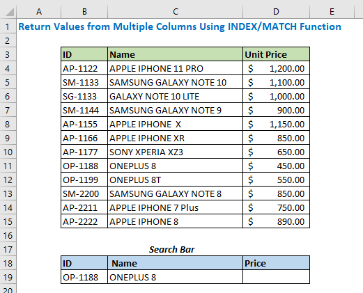 Return Values from Multiple Columns Using INDEX/MATCH Function