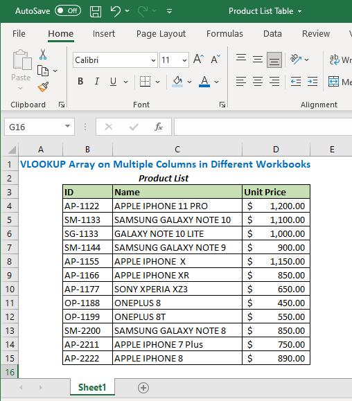 Product List Table Workbook