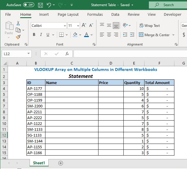 Statement Table Workbook