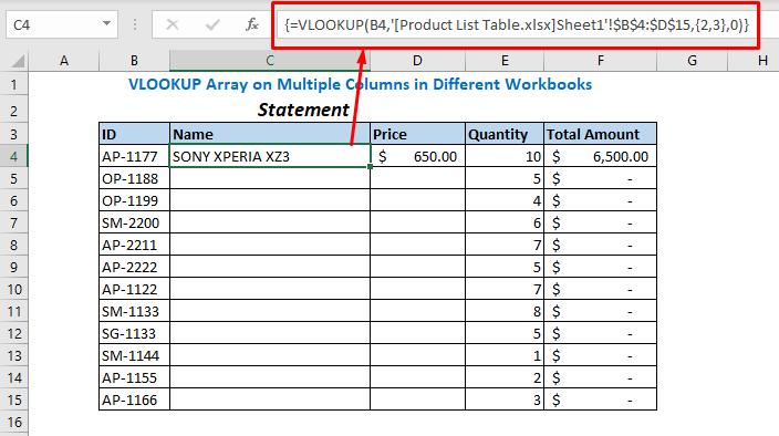 Enter formula using VLOOKUP function