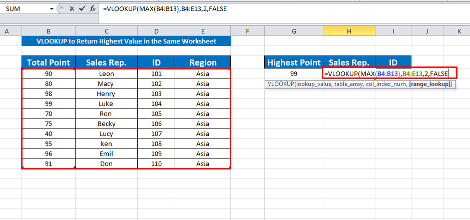 apply the vlookup function