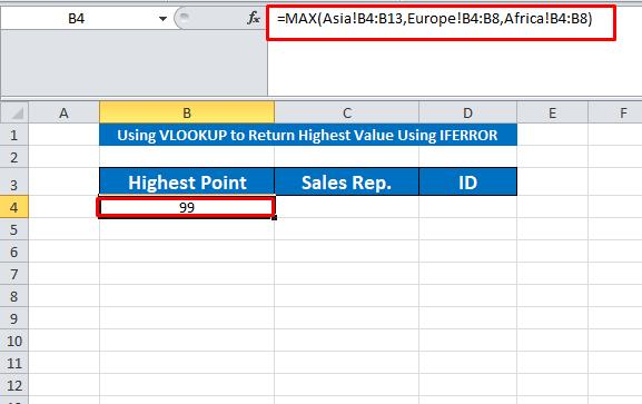 applying max formula