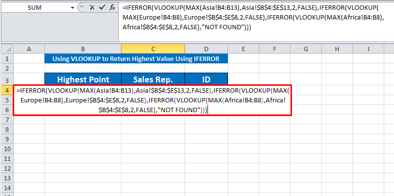 using the vlookup with iferror
