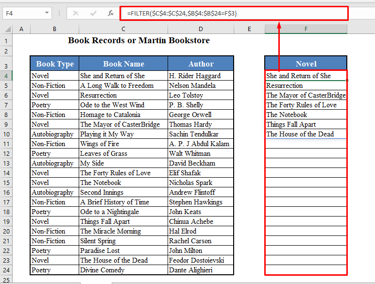 FILTER Function to Look For Multiple Matches