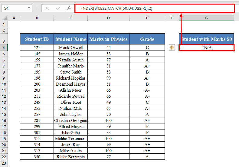 INDEX-MATCH with Approximate Match