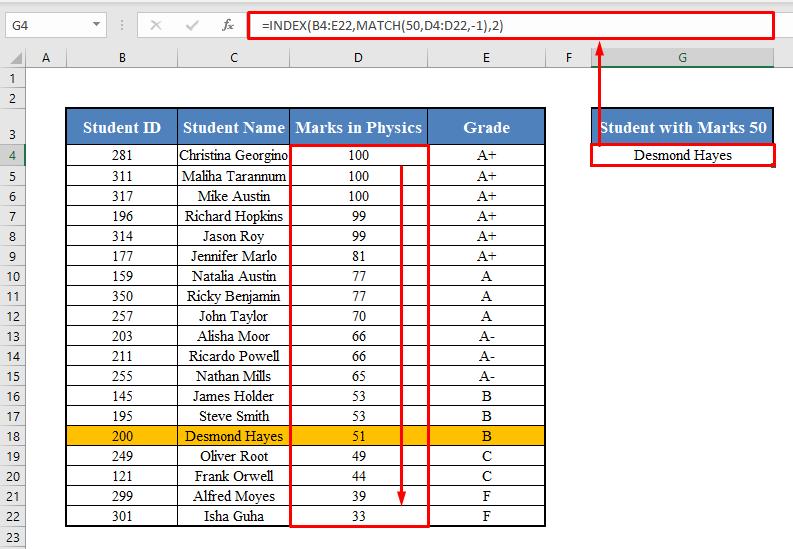 Approximate Match in INDEX-MATCH Formula