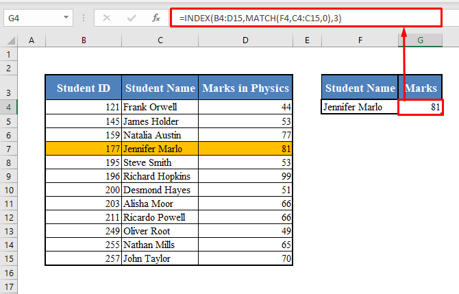 Excel INDEX-MATCH Function