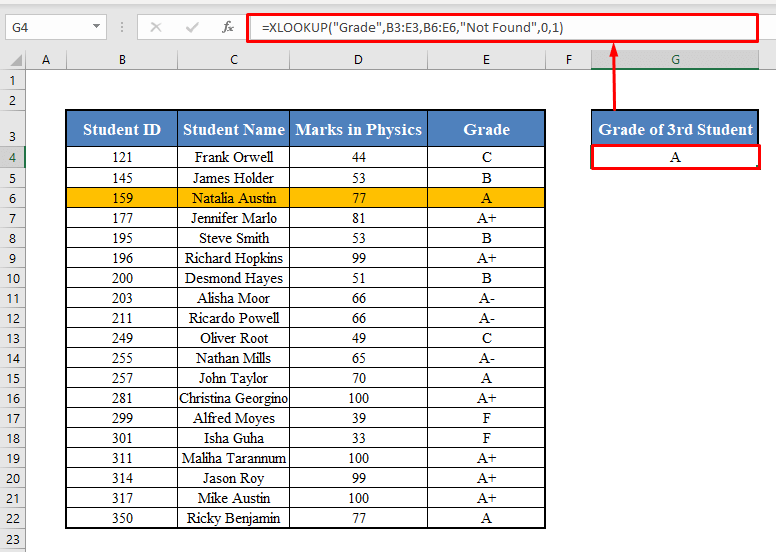 XLOOKUP Function with Row Lookup Array
