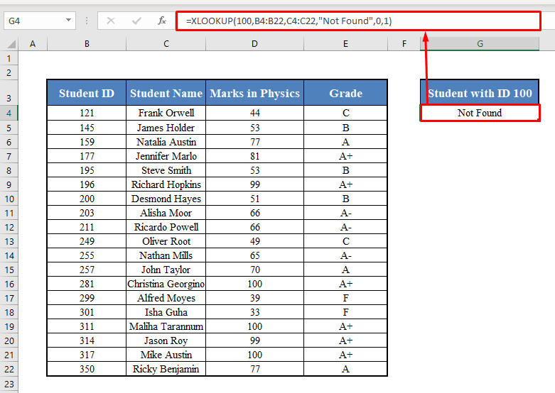 XLOOKUP Function with No Match