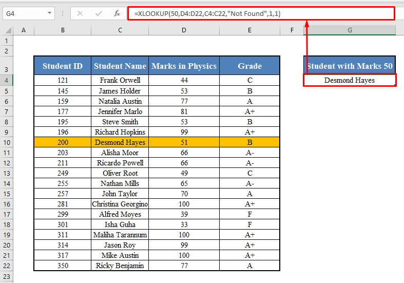 XLOOKUP with Approximate Match