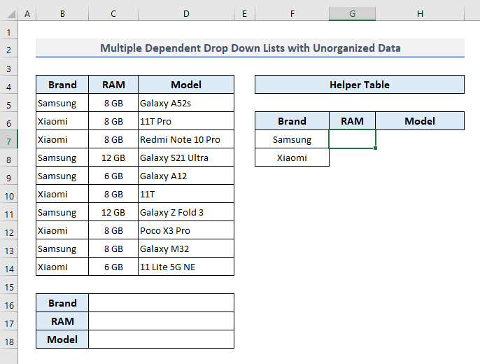 Construct Multiple Conditional Drop Down Lists in Excel