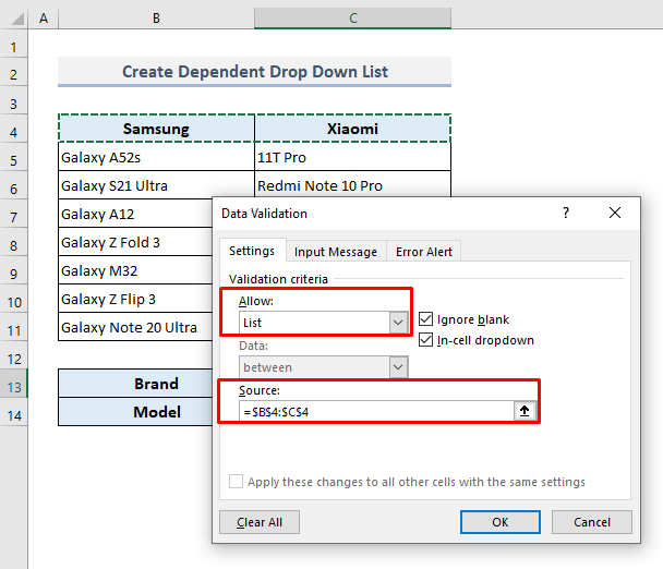 Create a Conditional Drop Down List with Classified Data Table