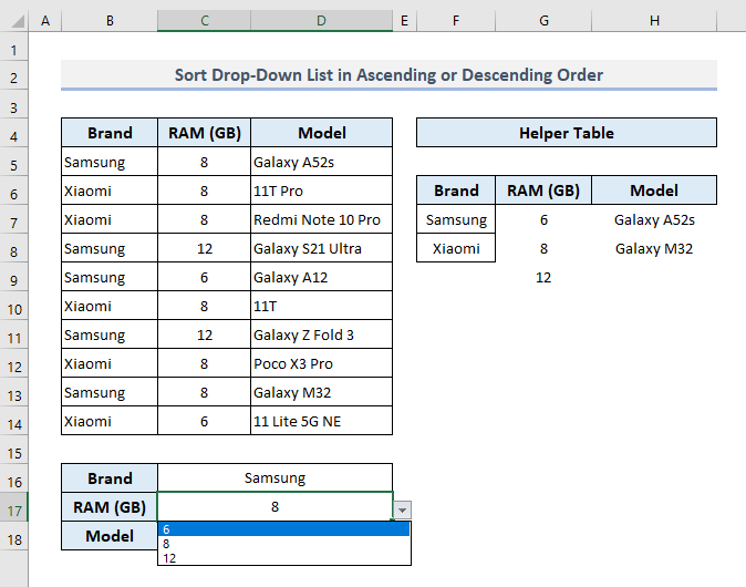Sort a Conditional Drop Down List with Ascending or Descending Order