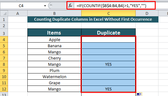 count duplicate value in a column without first value