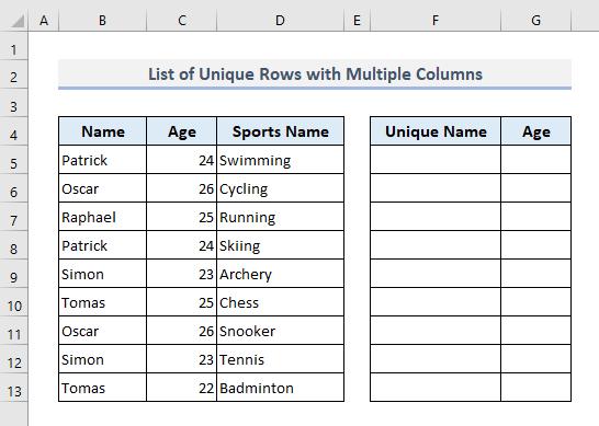 Create a List of Unique Rows with Multiple Columns Criteria