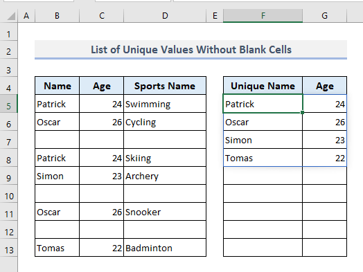 Create a List of Unique Values with Criteria