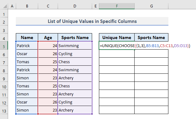 Find a List of Unique Values in Specified Columns in Excel