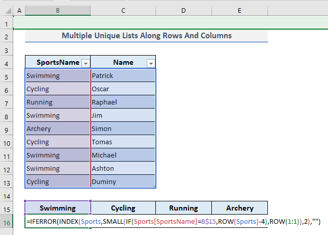 Make Multiple Unique Lists Along Rows and Columns with Criteria